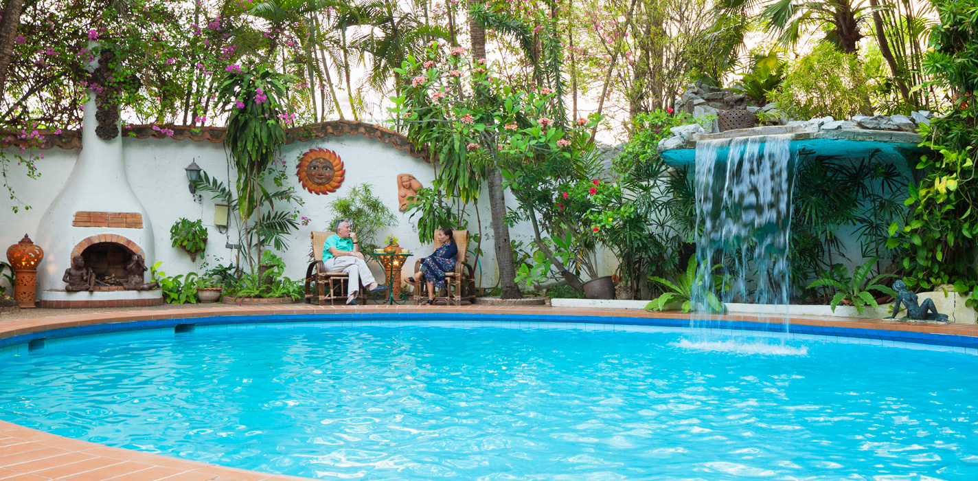 Coffee by the pool. Secret Garden, Chiang Mai, Thailand