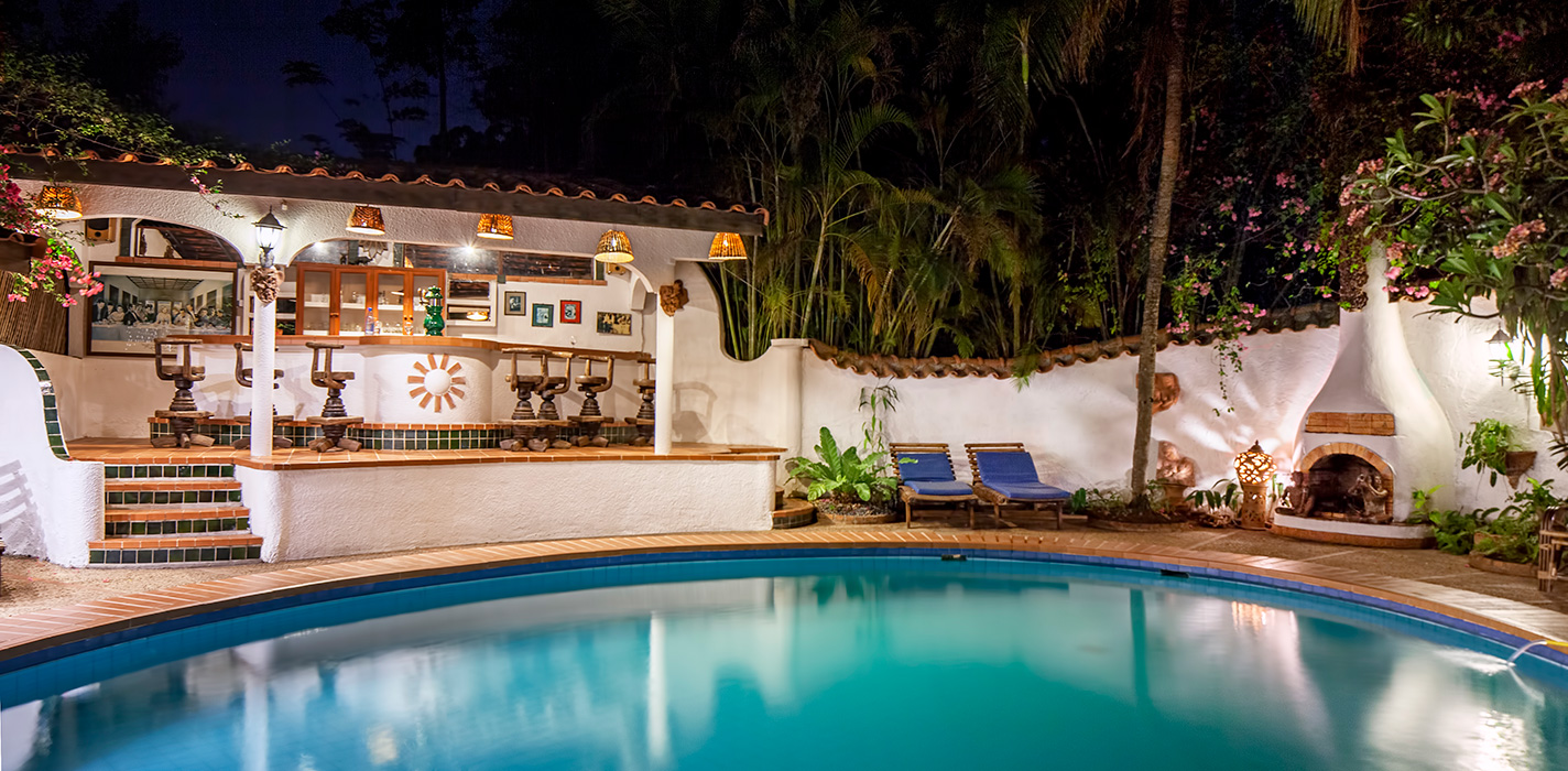 Poolside at night time