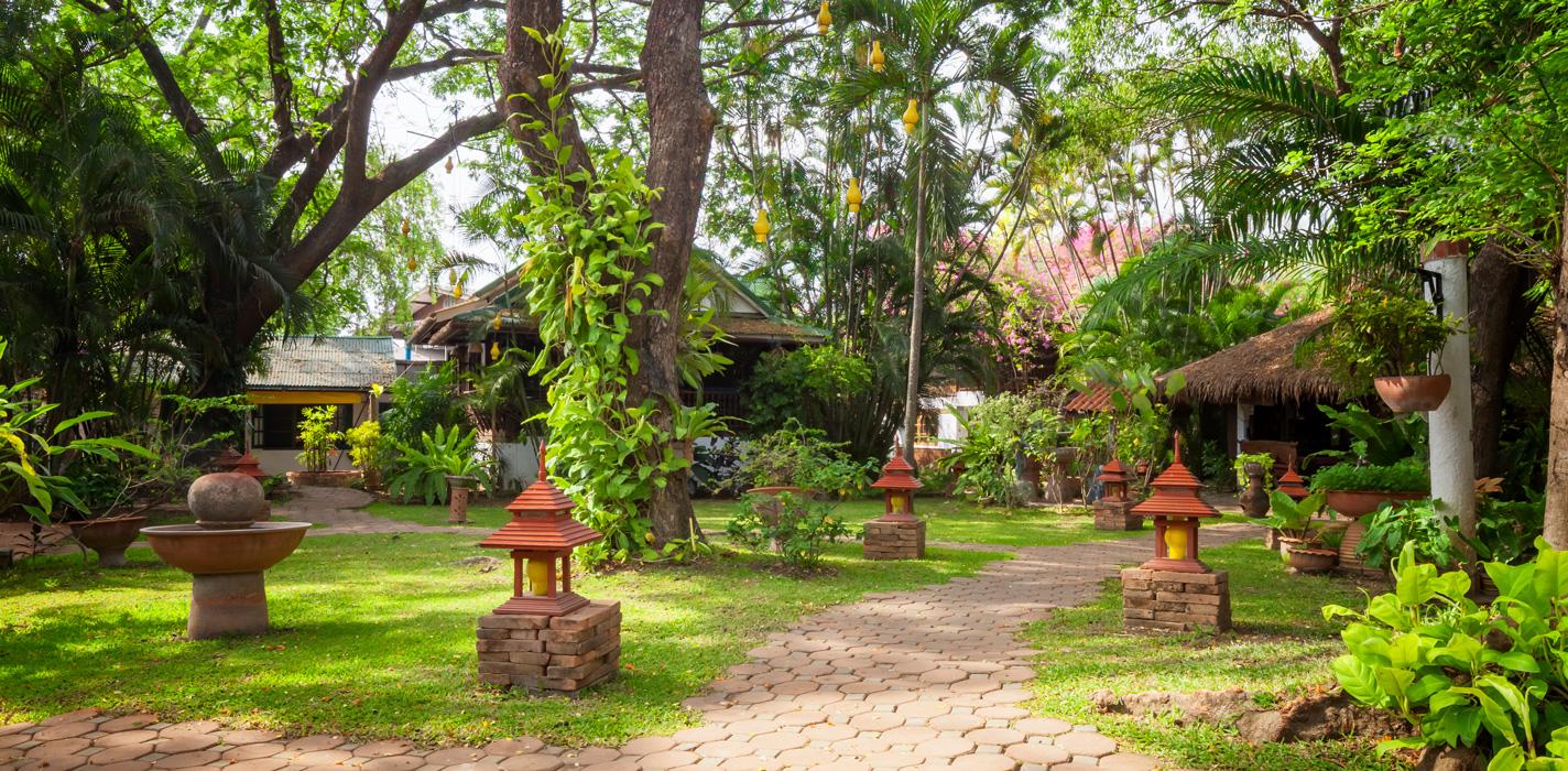 The main garden at the Secret Garden resort, Chiang Mai, Thailand