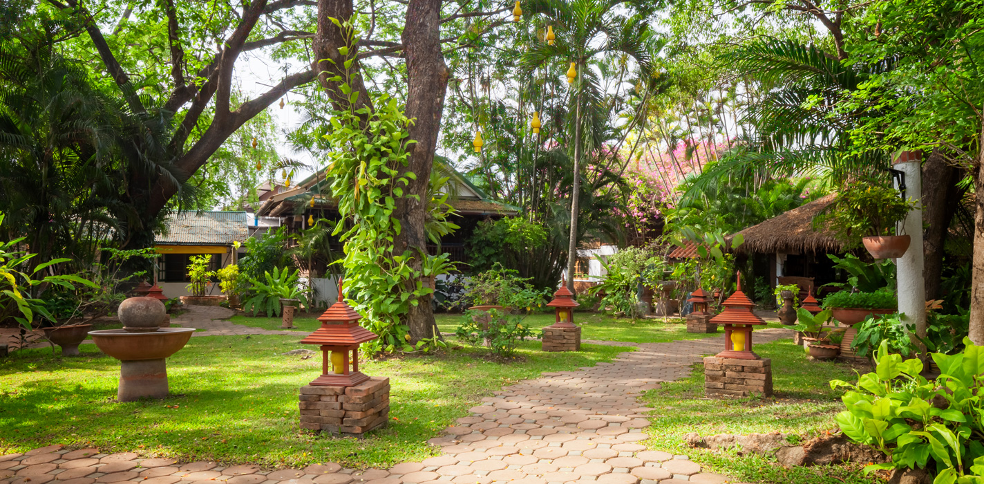 The main garden at the Secret Garden resort, Chiang Mai, Thailand